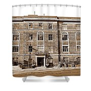 Red Bricks Building In Sepia Shower Curtain