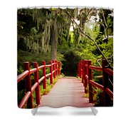 Red Bridge In Southern Plantation Shower Curtain