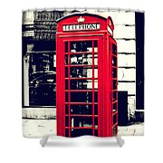 Red British Telephone Booth Shower Curtain