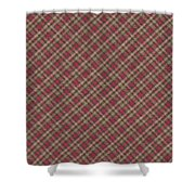 Red Brown And Green Diagonal Plaid Pattern Fabric Background Shower Curtain