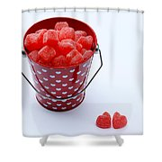 Red Bucket Of Hearts Shower Curtain