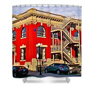 Red Building On Water Street In Saint John's-nl Shower Curtain