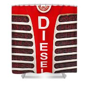 Red Bumper On Vehicle Labeled Diesel Shower Curtain