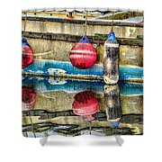 Red Buoy Reflections Of Alaska Shower Curtain