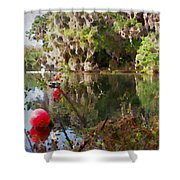 Red Buoys Shower Curtain