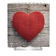 Red Burlap Heart On Vintage Table Shower Curtain
