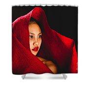 Red Burlap Shower Curtain