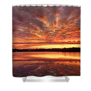 Red Burning Sky Shower Curtain