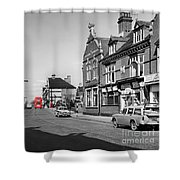 Red Bus And Red Telephone Box - 1960's    Ref-124-2 Shower Curtain