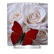 Red Butterfly Among White Roses Shower Curtain