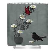 Red Butterfly In The Eyes Of The Blackbird Shower Curtain by Barbara St Jean