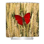 Red Butterfly In The Tall Weeds Shower Curtain
