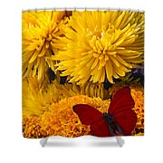 Red Butterfly On African Marigold Shower Curtain