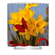 Red Butterfly On Daffodils Shower Curtain