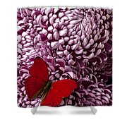 Red Butterfly On Red Mum Shower Curtain