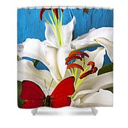 Red Butterfly On White Tiger Lily Shower Curtain