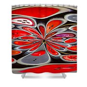 Red Button Orb Shower Curtain