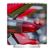 Red Cadillac Fins Shower Curtain