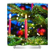 Red Candles In Christmas Tree Shower Curtain