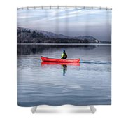 Red Canoe Shower Curtain by Adrian Evans