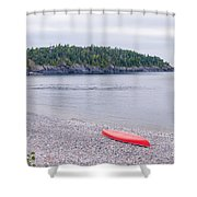 Red Canoe And Woman In Green Dress Shower Curtain