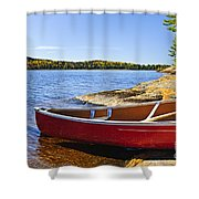 Red Canoe On Shore Shower Curtain