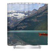 Red Canoes On Lake Louise Shower Curtain