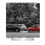 Red Car In Paris Shower Curtain