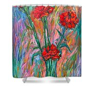 Red Carnation Melody Shower Curtain