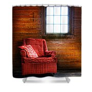 Red Chair In Panelled Room Shower Curtain