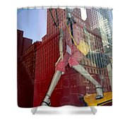 Red Cheque Reflections Shower Curtain