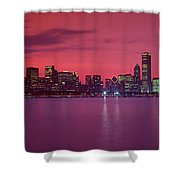 Red Chicago Sunset Shower Curtain
