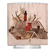 Red Chimneys Shower Curtain