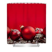 Red Christmas Baubles And Decorations Shower Curtain