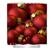 Red Christmas Baubles Shower Curtain by Anne Gilbert