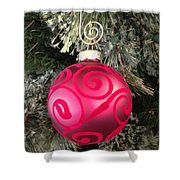 Red Christmas Ornament Shower Curtain