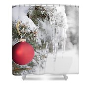 Red Christmas Ornament On Icy Tree Shower Curtain