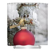 Red Christmas Ornament On Snowy Tree Shower Curtain