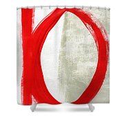 Red Circle 5- Abstract Painting Shower Curtain