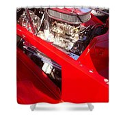 Red Classic Car Engine 2 Shower Curtain