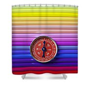 Red Compass On Rolls Of Colored Pencils Shower Curtain