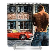 Red Corvette Shower Curtain by Bob Orsillo