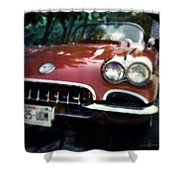 Red Corvette With Trees Shower Curtain