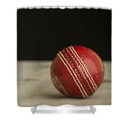 Red Cricket Ball Shower Curtain