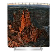 Red Dawn Breaking On Spires In Grand Canyon National Park Vertical Shower Curtain