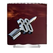 Red Delta 88 Rocket Shower Curtain