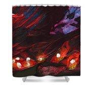 Red Demon With Pearls Shower Curtain