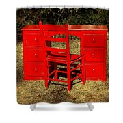 Red Desk And Chair Shower Curtain