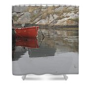 Red Dinghy  Shower Curtain