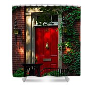 Red Door In Chicago Shower Curtain